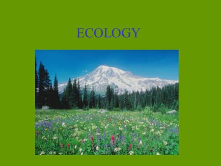 ECOLOGY. Ecology is: The study of the relationship between living organisms and their environment.