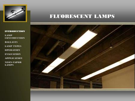 FLUORESCENT LAMPS INTRODUCTION LAMP CONSTRUCTION BALLASTS LAMP TYPES