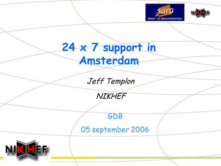 24 x 7 support in Amsterdam Jeff Templon NIKHEF GDB 05 september 2006.