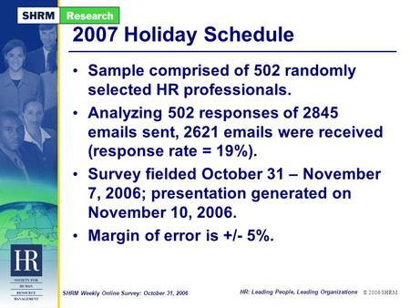 HR: Leading People, Leading Organizations © 2006 SHRM SHRM Weekly Online Survey: October 31, 2006 2007 Holiday Schedule Sample comprised of 502 randomly.