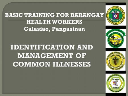 IDENTIFICATION AND MANAGEMENT OF COMMON ILLNESSES BASIC TRAINING FOR BARANGAY HEALTH WORKERS Calasiao, Pangasinan.