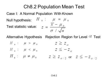 Ch8.2 Ch8.2 Population Mean Test Case I: A Normal Population With Known Null hypothesis: Test statistic value: Alternative Hypothesis Rejection Region.