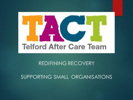 REDIFINING RECOVERY SUPPORTING SMALL ORGANISATIONS.