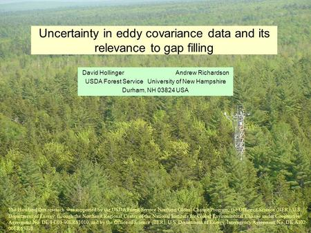 Uncertainty in eddy covariance data and its relevance to gap filling David HollingerAndrew Richardson USDA Forest ServiceUniversity of New Hampshire Durham,