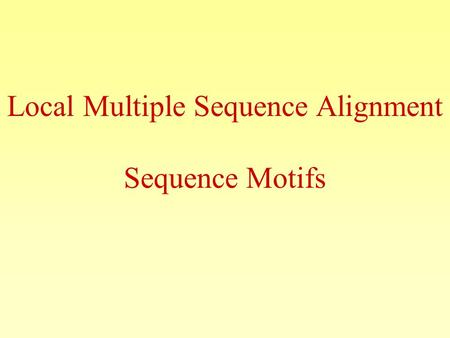 Local Multiple Sequence Alignment Sequence Motifs.