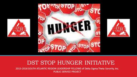 DST STOP HUNGER INITIATIVE 2015-2016 SOUTH ATLANTIC REGION LEADERSHIP FELLOWS of Delta Sigma Theta Sorority, Inc. PUBLIC SERVICE PROJECT.