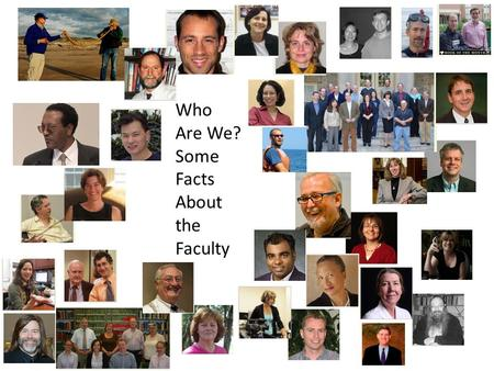 Who Are We? Some Facts About the Faculty. Number% Full-time Tenured and Tenure Eligible 51219.8% Full-time Non-Tenure Eligible 106 4.1% Research and Public.