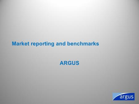Market reporting and benchmarks ARGUS. A reporting service needs to be Independent –Not influence by one party –Not influenced by a government Professional.