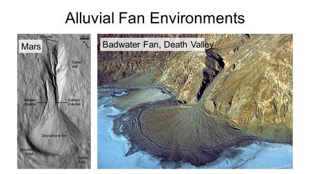 Alluvial Fan Environments Badwater Fan, Death Valley Mars.