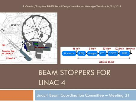 BEAM STOPPERS FOR LINAC 4 Linac4 Beam Coordination Committee – Meeting 31 S. Cimmino/F. Loprete, EN-STI, Linac4 Design Status Report Meeting – Thursday.