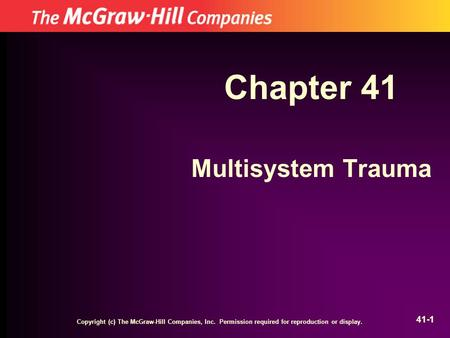 Chapter 41 Multisystem Trauma