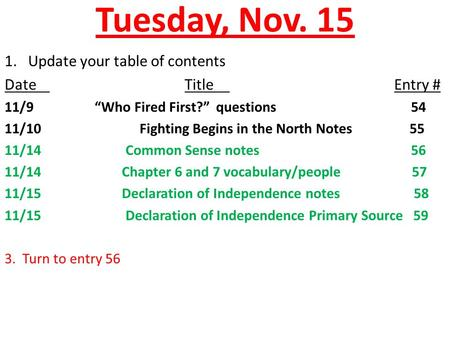"Tuesday, Nov. 15 1. Update your table of contents DateTitle Entry # 11/9""Who Fired First?"" questions 54 11/10 Fighting Begins in the North Notes55 11/14."