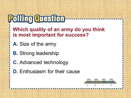 A.A B.B C.C D.D Section 1-Polling QuestionSection 1-Polling Question Which quality of an army do you think is most important for success? A.Size of the.