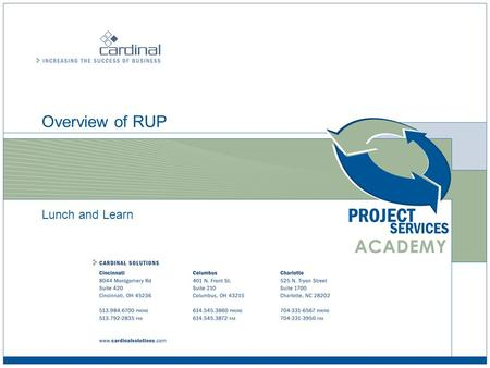 Overview of RUP Lunch and Learn. Overview of RUP © 2008 Cardinal Solutions Group 2 Welcome  Introductions  What is your experience with RUP  What is.