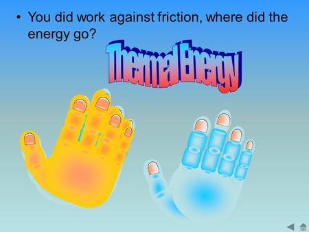 You did work against friction, where did the energy go?