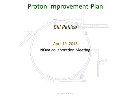 Proton Improvement Plan Bill Pellico April 19, 2013 NOvA collaboration Meeting Bill Pellico NOvA.