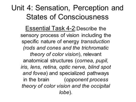 Unit 4: Sensation, Perception and States of Consciousness Essential Task 4-2 :Describe the sensory process of vision including the specific nature of energy.