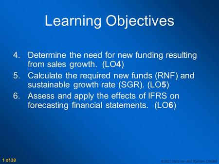 1 of 38 ©2012 McGraw-Hill Ryerson Limited Learning Objectives 4.Determine the need for new funding resulting from sales growth. (LO4) 5.Calculate the required.