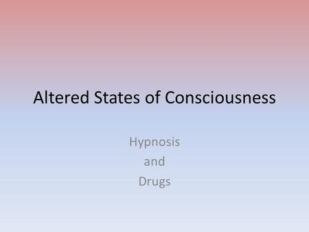 Conciousness - Drugs & Amunitions