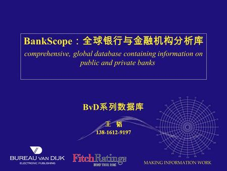 BankScope :全球银行与金融机构分析库 comprehensive, global database containing information on public and private banks BvD 系列数据库 王 韬 138-1612-9197.