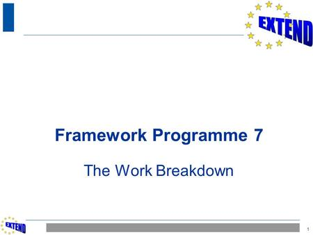 1 Framework Programme 7 The Work Breakdown. 2 CONTENT  Work distribution across the consortium  Work breakdown into WPs and Tasks.