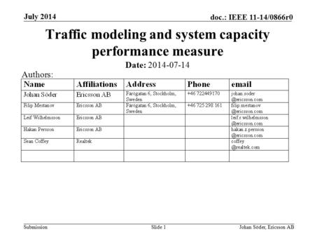Submission doc.: IEEE 11-14/0866r0 July 2014 Johan Söder, Ericsson ABSlide 1 Traffic modeling and system capacity performance measure Date: 2014-07-14.