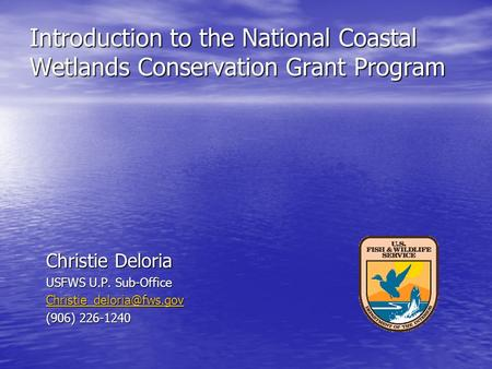 Introduction to the National Coastal Wetlands Conservation Grant Program Christie Deloria USFWS U.P. Sub-Office (906) 226-1240.