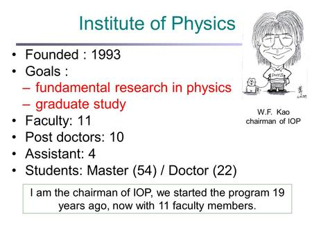 Institute of Physics Founded : 1993 Goals : –fundamental research in physics –graduate study Faculty: 11 Post doctors: 10 Assistant: 4 Students: Master.