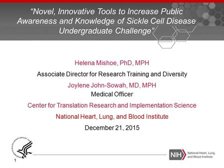 Helena Mishoe, PhD, MPH Associate Director for Research Training and Diversity Joylene John-Sowah, MD, MPH Medical Officer Center for Translation Research.