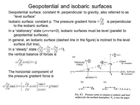 Geopotential and isobaric surfaces