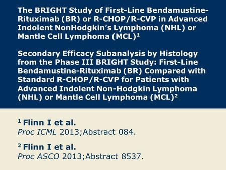 The BRIGHT Study of First-Line Bendamustine- Rituximab (BR) or R-CHOP/R-CVP in Advanced Indolent NonHodgkin's Lymphoma (NHL) or Mantle Cell Lymphoma (MCL)