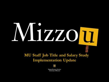 Classification and compensation Analysis Pilot Project MU Staff Job Title and Salary Study Implementation Update.