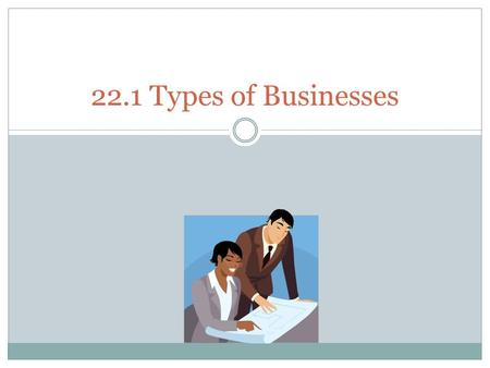 22.1 Types of Businesses. Proprietorships A sole proprietorship, or proprietorship is a business owned and operated by a single person; it is the most.