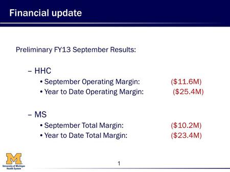 1 Financial update Preliminary FY13 September Results: –HHC September Operating Margin: ($11.6M) Year to Date Operating Margin: ($25.4M) –MS September.