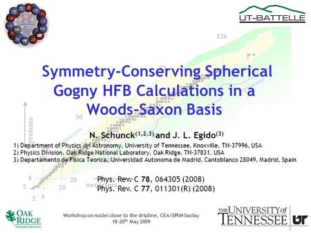 Symmetry-Conserving Spherical Gogny HFB Calculations in a Woods-Saxon Basis N. Schunck (1,2,3) and J. L. Egido (3) 1) Department of Physics  Astronomy,
