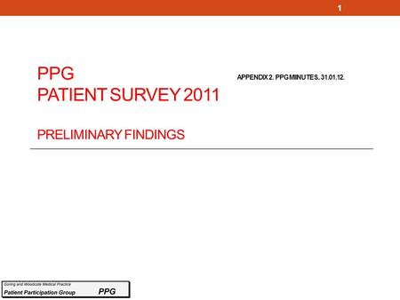 PPG APPENDIX 2. PPG MIINUTES.. 31.01.12. PATIENT SURVEY 2011 PRELIMINARY FINDINGS 1.