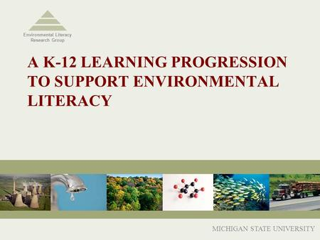 A K-12 LEARNING PROGRESSION TO SUPPORT ENVIRONMENTAL LITERACY MICHIGAN STATE UNIVERSITY Environmental Literacy Research Group.