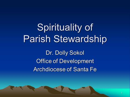 Spirituality of Parish Stewardship