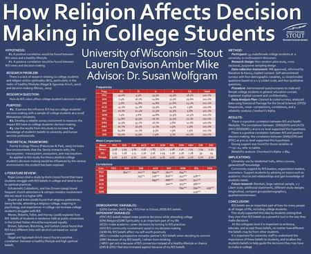 How Religion Affects Decision Making in College Students How Religion Affects Decision Making in College Students RESEARCH PROBLEM: There is a lack of.