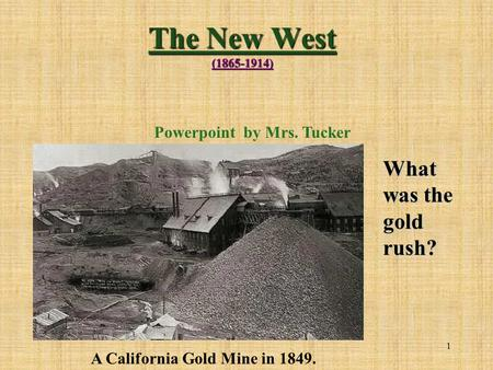 Powerpoint by Mrs. Tucker A California Gold Mine in 1849.