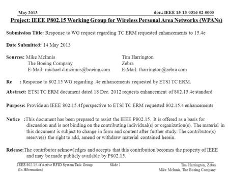 Doc.: IEEE 15-13-0316-02-0000 IEEE 802.15.4f Active RFID System Task Group (In Hibernation) May 2013 Slide 1 Project: IEEE P802.15 Working Group for Wireless.