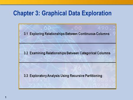 1 Chapter 3: Graphical Data Exploration 3.1 Exploring Relationships Between Continuous Columns 3.2 Examining Relationships Between Categorical Columns.