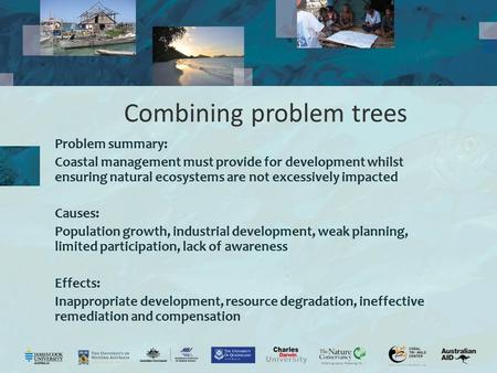 Combining problem trees Problem summary: Coastal management must provide for development whilst ensuring natural ecosystems are not excessively impacted.