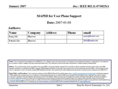 Doc.: IEEE 802.11-07/0025r1 Submission January 2007 Peng Mo, Huawei Technologies Co., Ltd.Slide 1 MAPID for User Plane Support Notice: This document has.