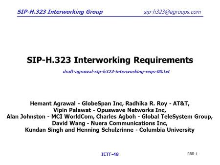 SIP-H.323 Interworking Group RRR-1 IETF-48 SIP-H.323 Interworking Requirements draft-agrawal-sip-h323-interworking-reqs-00.txt Hemant.