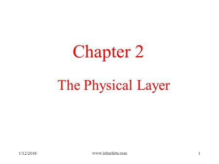 Chapter 2 The Physical Layer 4/26/2017 www.ishuchita.com.