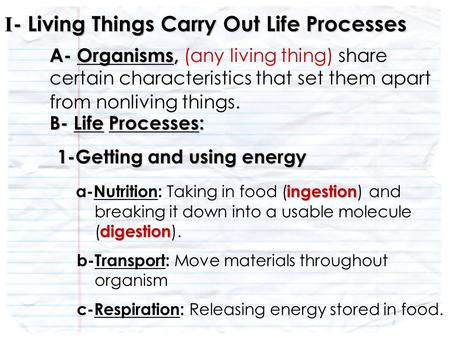 A- Organisms, A- Organisms, (any living thing) share certain characteristics that set them apart from nonliving things. I - Living Things Carry Out Life.