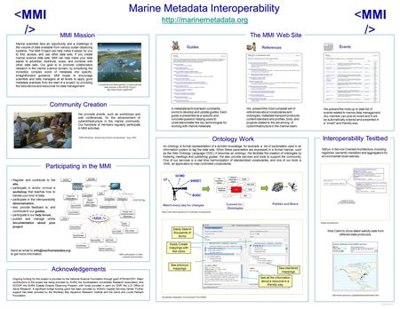Marine Metadata Interoperability  Acknowledgements Ongoing funding for this project is provided by the National Science Foundation.