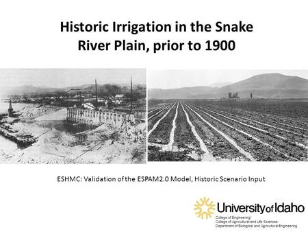 College of Engineering/ College of Agricultural and Life Sciences Department of Biological and Agricultural Engineering Historic Irrigation in the Snake.