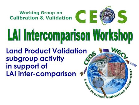 Land Product Validation subgroup activity in support of LAI inter-comparison.